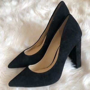 Black suede block heel